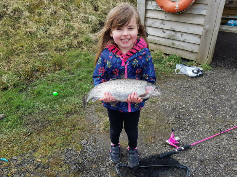 image of girl holding a caught fish